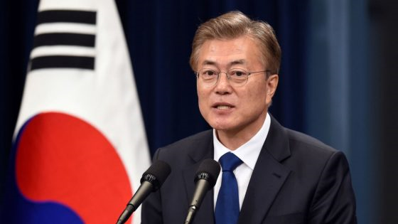 South Korea's new President Moon Jae-In speaks during a press conference at the presidential Blue House in Seoul