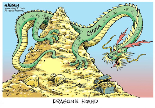Ed Stein Cartoon of dragon atop gold hoard captioned Dragon's Hoard